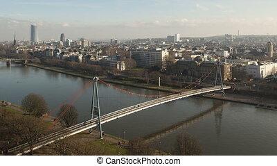 Time lapse closeup aerial Frankfurt
