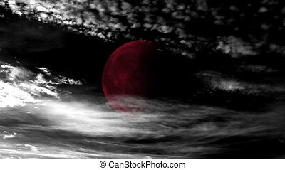 Time Lapse Clouds and Blood Moon