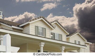 Time-lapse Clouds Foreclosure For Sale Real Estate Sign and New House.