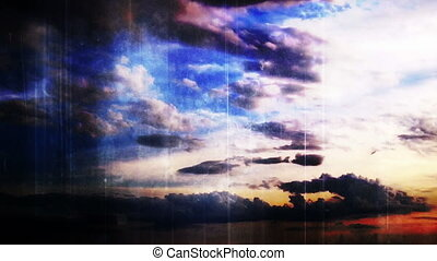 Time lapse clouds grunge