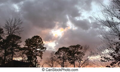 clouds - Time lapse clouds moving past winter trees with...