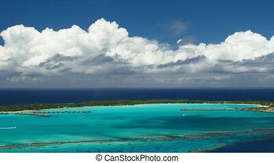 Bora Bora Lagoon - Time Lapse Clouds over Bora Bora Lagoon,...