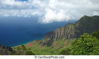 Kalalau Valley - Time lapse Clouds over Kalalau Valley,...