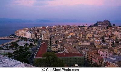 Time lapse: Corfu city at night