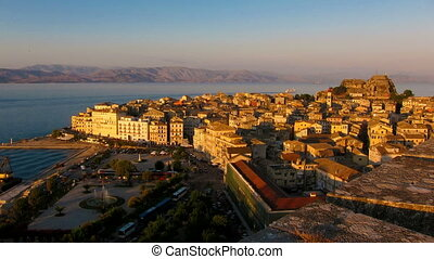 Time lapse: Corfu city at sunset