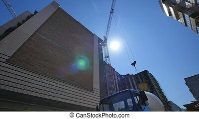time lapse crane working in big construction site