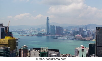 Time lapse day sky view Hong Kong