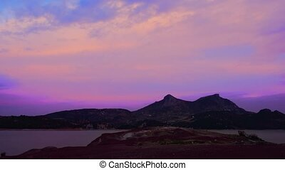 Time Lapse, Day To Night At Embalse De Zahara, Andalusia, Spain
