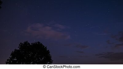 Time Lapse, Day To Night - View Onto Galactic Center,...
