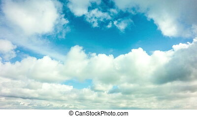 Time lapse daytime sky with fluffy clouds