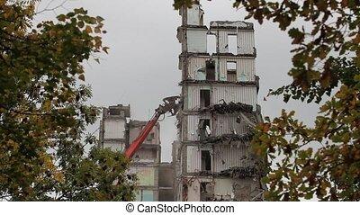 Time lapse  demolition machine