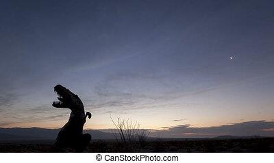time lapse desert sunrise dinosaur