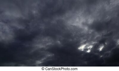time lapse dramatic sky with flying dark clouds, overcast ...