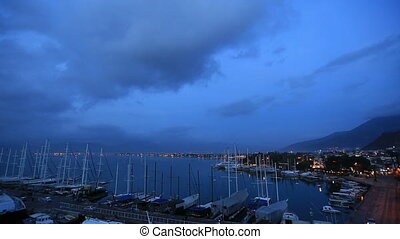 time lapse famous town Fethiye - time lapse harbor and city...