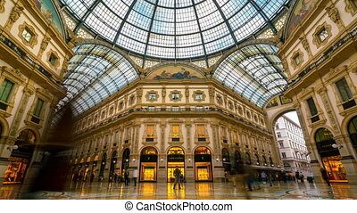 Milan, Italy - Sep 28, 2017: Time lapse of people in Galleria Vittorio Emanuele II, Milan, Italy. It is Italy oldest mall in Milan. Galleria is named after Victor Emmanuel II, the first king of Italy.