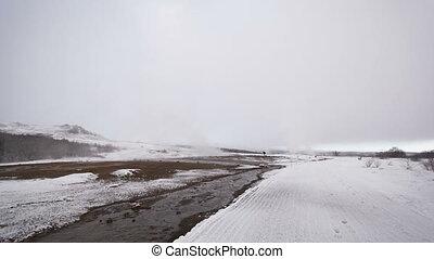 Time lapse geyser eruption, Iceland