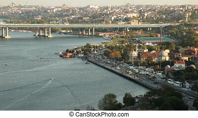 time lapse golden horn at istanbul turkey