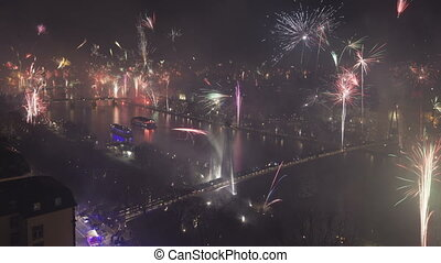 Time lapse grand firework aerial over Frankfurt and the Main...