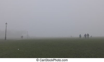 Time lapse. Green field and the sidewalk. People come out of the fog.