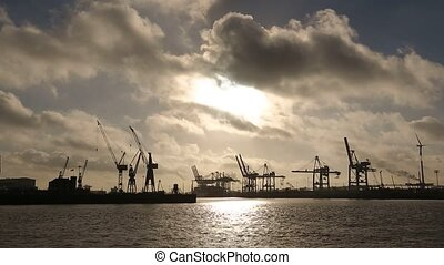 Time Lapse, Hamburg Harbor with Clouds - video footage of...