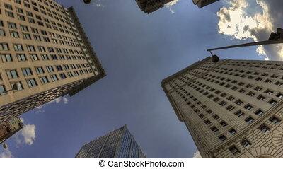 Time lapse HDR Cincinnati skyscraper rotation with a blue...