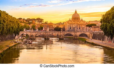 Rome at twilight - Time lapse in 4K of Cityscape of Rome at...