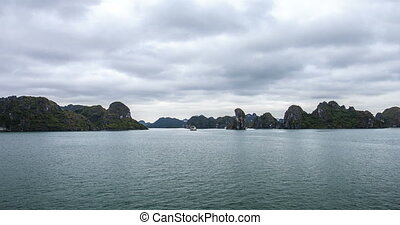 Time lapse in Halong Bay with camera movement. A miracle of ...