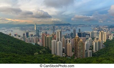 Time lapse in Hong Kong at Sunset - Time lapse movie of...