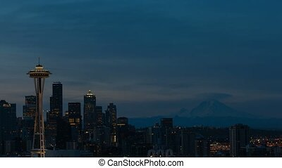 Time lapse in Seattle WA at sunrise