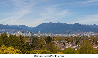 Ultra High Definition Time Lapse Movie of Clouds Movement Over Two Lions and Grouse Mountains and Cityscape of Vancouver BC British Columbia Canada from Queen Elizabeth Park 4096x2304