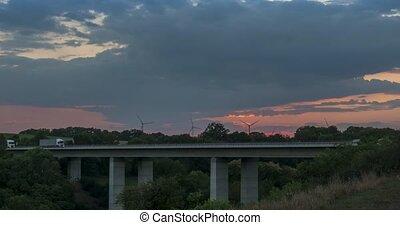 Time Lapse, Jagsttalbridge At Sunset, German Autobahn A6 -