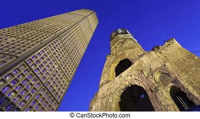 Time lapse Kaiser Wilhem Memorial Church in Berlin during...