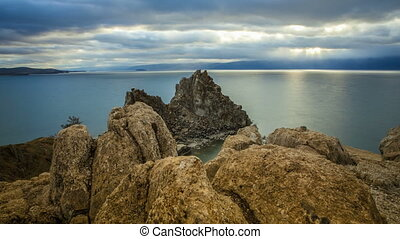 Time lapse Lake Baikal in cloudy day. Clouds moving fast....