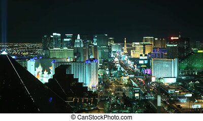 Time lapse Las Vegas at night from high above