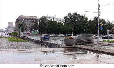 Time lapse main square of Novosibir