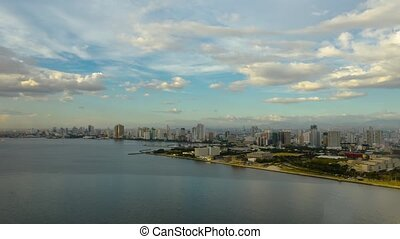 Time lapse: Manila, the capital of the Philippines, aerial...