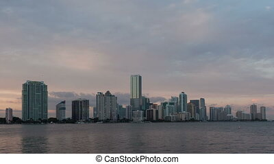 Time lapse Miami Skyline tilt shot - Timelapse Miami city...