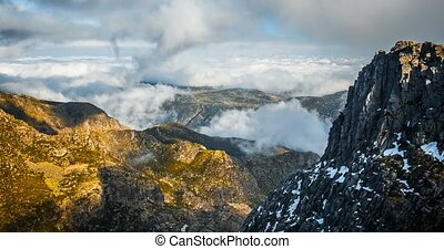 Time Lapse, Mountain Mass With Heavy Clouds In Sierra Da...