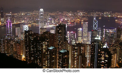 Time Lapse Movie Hong Kong skyline at night
