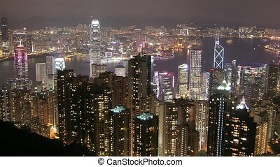 Time Lapse Movie Hong Kong skyline at night