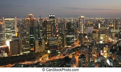 Time Lapse movie Osaka, Japan at sunset - Time Lapse movie...