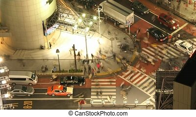Time Lapse Movie Tokyo cross-walk from high above (rare view) at night.