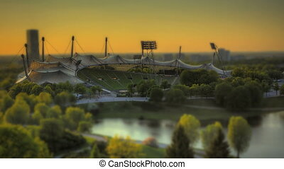 Time Lapse Munich Olympic Stadium in tilt-shift look