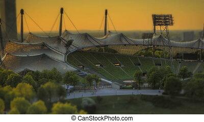 Time Lapse Munich Olympic Stadium tilt-shift look at sunset