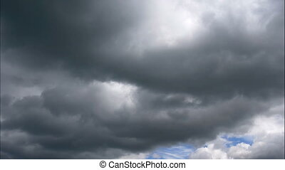 Time lapse Nature background Ominous clouds drift slowly across the sky, threatening rain. FHD stock footage