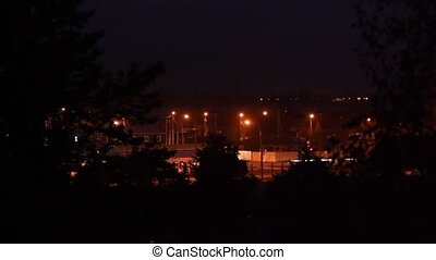 night crossroad - time lapse. night crossroad