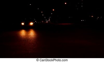 night crossroad - time lapse night crossroad