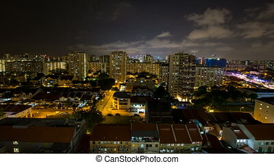 Time lapse night scene in Singapore - Time lapse movie of...