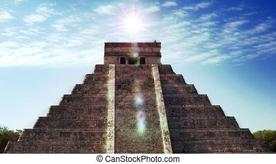 time-lapse, of, , майя, ruins, в, chichen, itza, mexico., ,...
