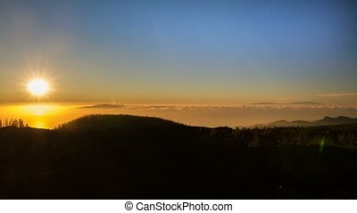 Time Lapse Of A Golden Sunset And Starry Night At The Pico...